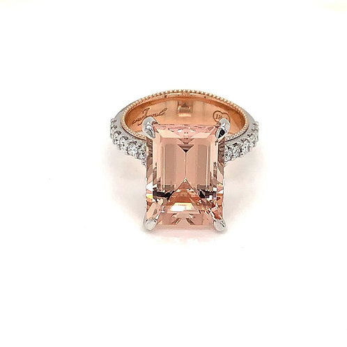 Emerald Cut Peach Morganite & Diamond Ring