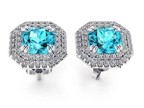zircon earrings with diamonds