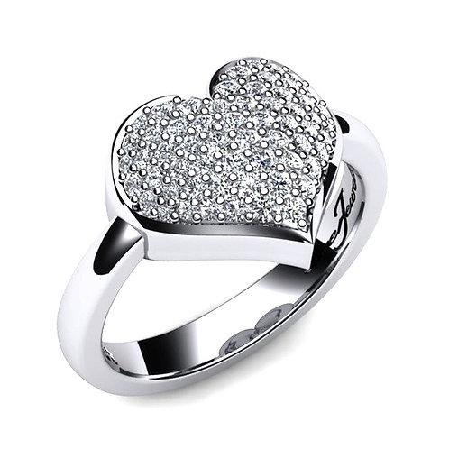 diamond pave heart ring