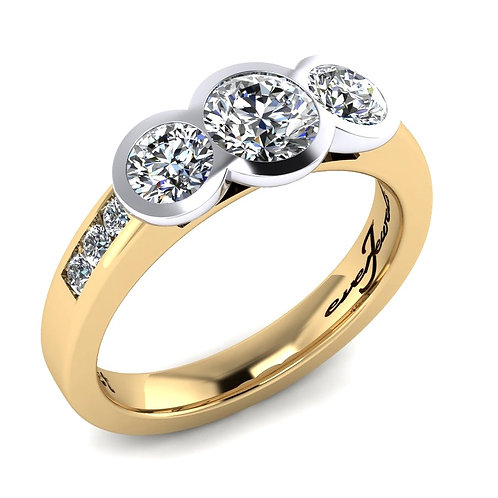 Three Diamond Flush Set Engagement Ring
