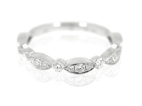 18ct White gold filigree diamond band