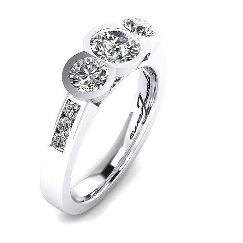 Three Round Brilliant Diamonds Bezel Set Engagement Ring