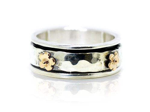 Israel design flower rose gold and sterling silver dress ring