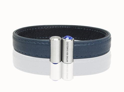 mens dark blue leather bracelet antonio ben chimol