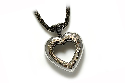 18ct White Gold Heart Diamond Pendant