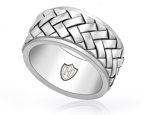 Sterling silver Hoxton braided design gents ring