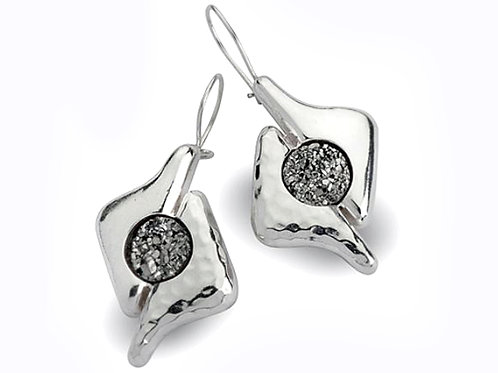 Israel designer sterling silver crushed black stone earrings