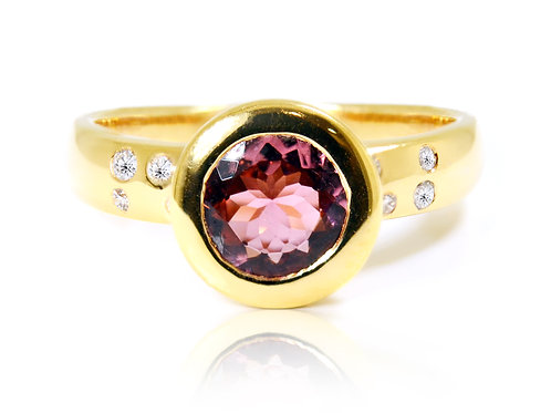18ct Rose gold round tourmaline dress ring with diamonds