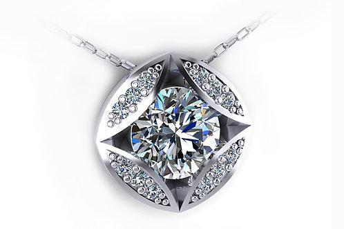 18ct White gold round brilliant pendant with grain set diamonds