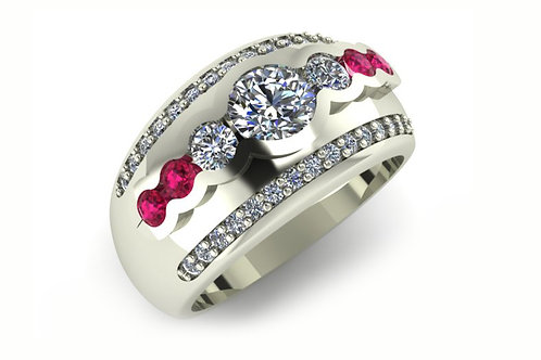 18ct White gold three diamond dress ring with pink sapphires
