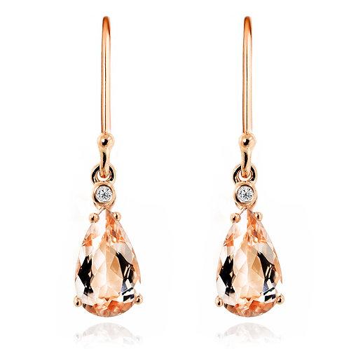 pear cut morganite earrings