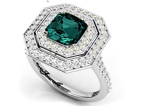 18ct White gold octagon teal sapphire with a double halo of diamonds dress ring