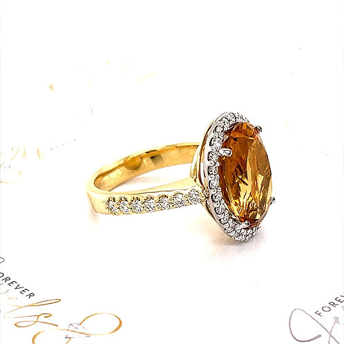 Citrine and Diamonds Halo Ring