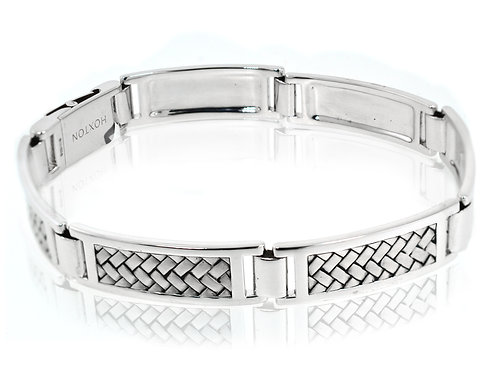 hoxton sterling silver braided mens bracelet