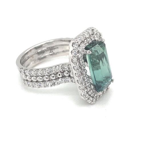 MINT TOURMALINE DOUBLE HALO DIAMOND RING