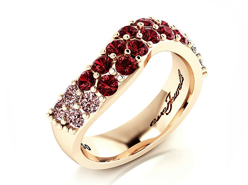 18ct Rose gold round rose spinel and diamond dress ring