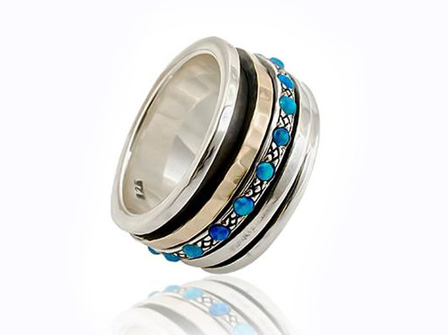Israel designer 9ct yellow gold and sterling silver with opal stone dress ring