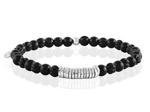 mens black beaded bracelet