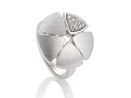 Ladies sterling sliver diamond floral design ring