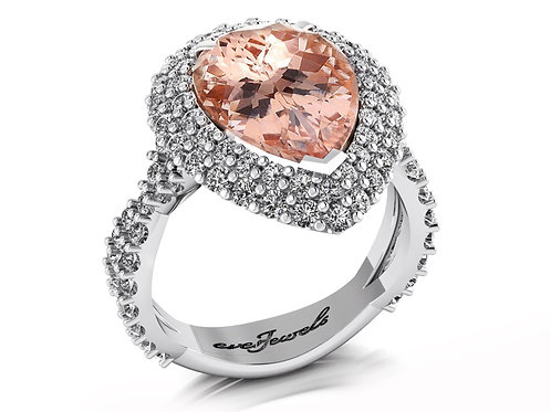 18ct White gold pear cut morganite dress ring with a halo of diamonds