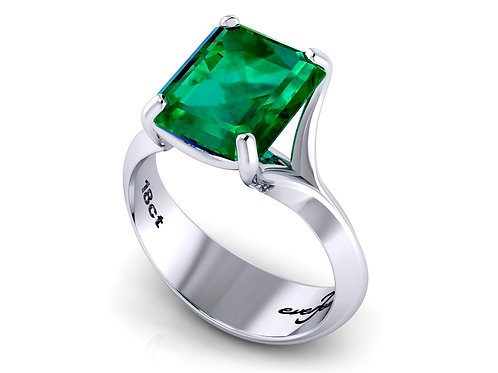 18ct White gold emerald cut claw set ring