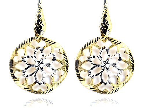 9ct Yellow and white gold diamond cut flower earrings