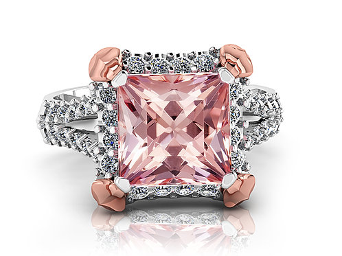 Princess cut pink morganite dress ring with halo of diamonds