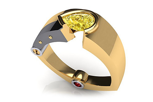 18ct yellow gold ring with a pear cut yellow diamond bezel set