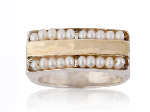 Israel designer ring with pearls, yellow gold and sterling silver