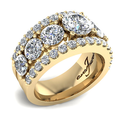 Yellow Gold Round Brilliant Diamond Engagement Ring with bands