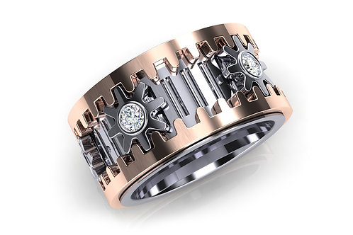 18ct White and rose gold wheel of life men's ring