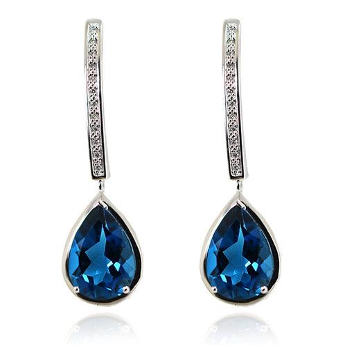 pear cut blue stone earrings