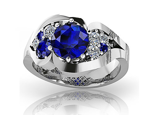 white gold blue sapphire diamond dress ring