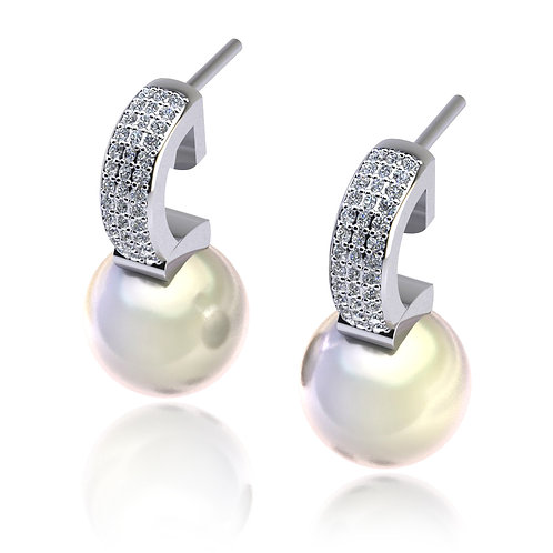 18ct White gold south sea pearl earrings with pave set diamonds