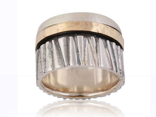 Israel designer dress ring in sterling silver and rose gold