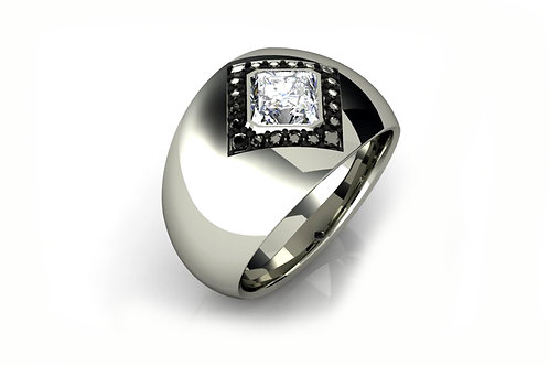 princess cut flush set white gold ring
