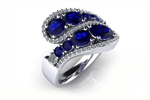 18ct White gold deep blue sapphire diamond ring