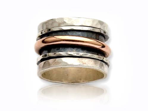Israel design rose gold and sterling silver spin dress ring