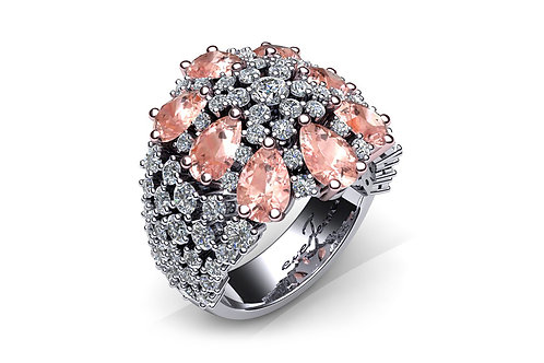 18ct White gold pear cut pink sapphires with pave round brilliant diamonds