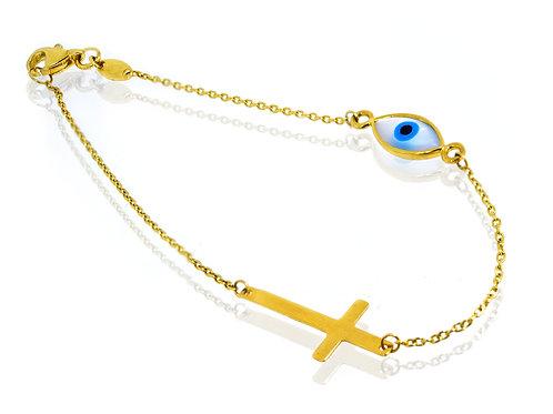 cross and evil eye bracelet