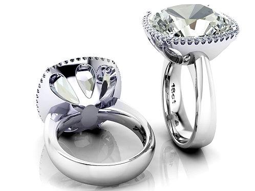 18ct White gold cushion cut aquamarine halo diamond dress ring