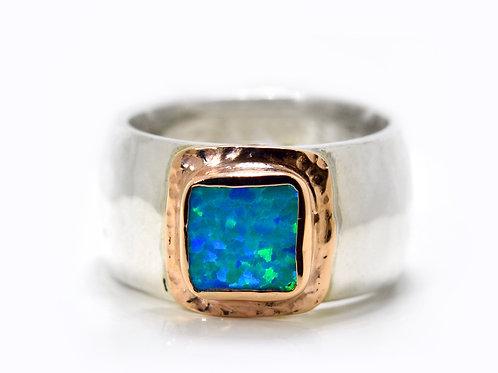 Israel designer sterling silver and 14ct rose gold opal dress ring