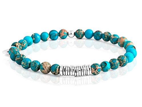 mens aqua beaded bracelet