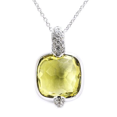 White Gold Lemon Quartz Diamond Pendant