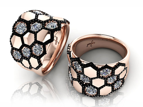 rose gold black and white diamond dress ring