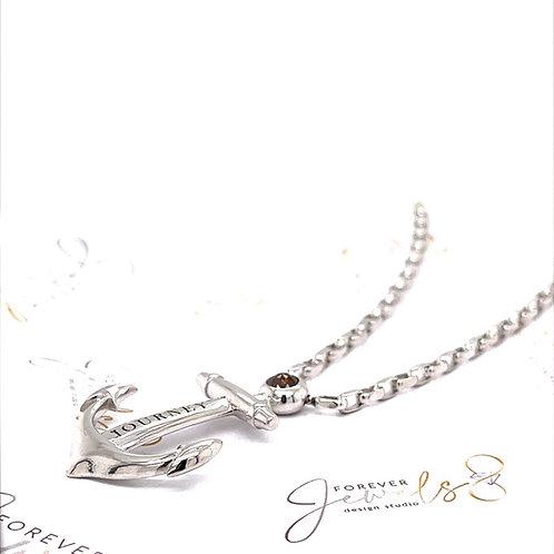Cognac Diamond Anchor Necklace