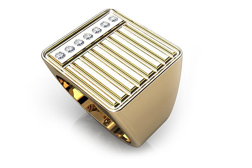 18ct Yellow gold gents signet ring with round brilliant diamonds