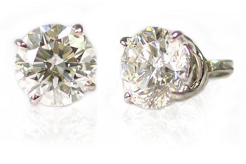 SOLD Wht Gold 2ct each FSI2 Diamond Stud Earrings