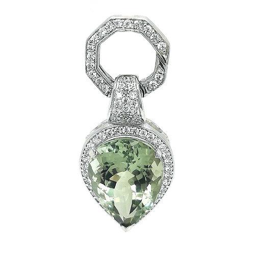 Green Amethyst & CZ Gemstone Pendant