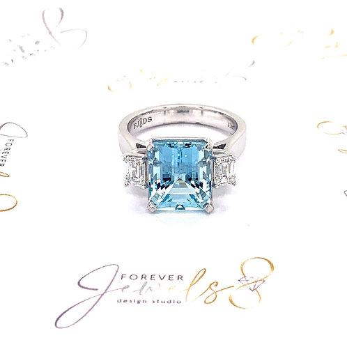 Trilogy aquamarine and diamond ring